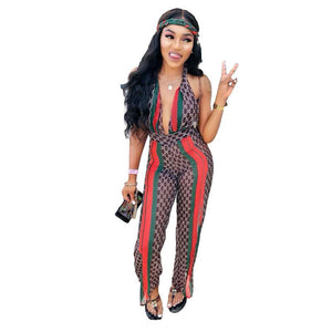 See Through Stripe Rompers Jumspuit ThinLight Halter Backless V Neck Halter Romper Women Bandage Playsuit