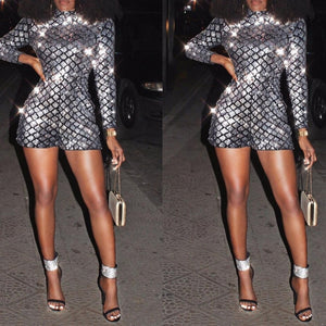 Sequin Playsuit Women Jumpsuit Shorts Long Sleeve Rompers Ladies Turtleneck Club Party Jumpsuit Short Femme Bodycon