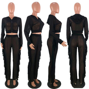 Sexy 2 Piece Set Women Clothes 2020 Sheer Mesh Top Ruffle Pants Sweat Suits Summer Club Outfits Two Piece Tracksuit Women