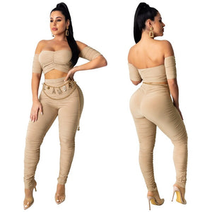Sexy 2 Piece Set Women Clothes 2020 Summer Bodycon Two Piece Set Top Pants Matching Sets Festival Party Night Club Outfits