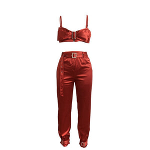 Sexy 2 Piece Set Women Festival Clothing Crystals Buckle Crop Top Pants Silk Party Two Piece Club Outfit Matching Women Sets