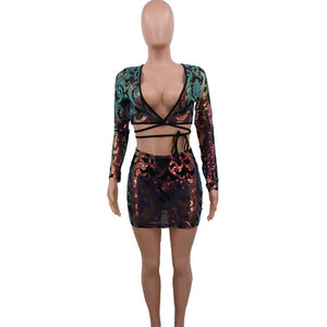 Sexy 2 Piece Skirt Set Women Festival Clothing Bodycon Sequin Two Piece Set Top Mini Skirt Matching Sets Party Club Outfits