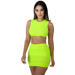 Sexy 2 Piece Women Set Summer Clothes Neon Green Crop Top Skirt Suit Set Club Festival Two Piece Outfits Matching Sets