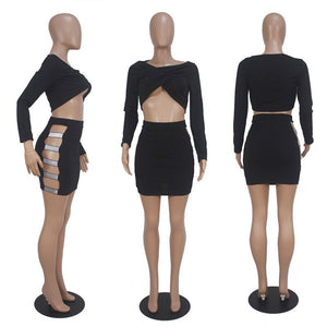 Sexy Black Two Piece Set Women Long Sleeve Ruched Crop Top Hollow Out Skirt Set Club Bodycon Two Piece Outfits Matching Sets
