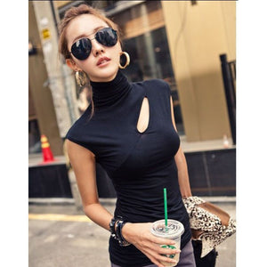 Blouse Women Tops Hollow Out Solid Cotton Sleeveless Turleneck Summer Tops Slim Casual Street Wear Shirts Office Black
