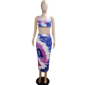 Sexy Bodycon Two Piece Skirt Set Women Summer Clothes Print Crop Top Skirt Suit Set Party Club Beach 2 Piece Set Outfits