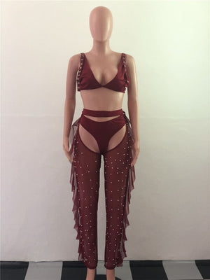 Sexy Club Outfits 3 Piece Set Women Summer Crop Top + Shorts + Pearls Beading Sheer Mesh Pants Set Party Nightclub Matching Set