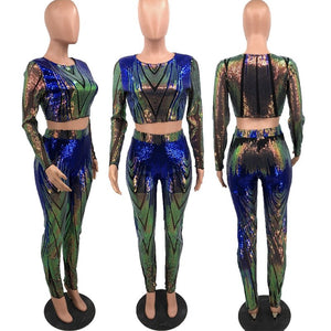 Sexy Club Outfits Sequin 2 Piece Set Women Party Glitter Two Piece Set Top Pants Festival Clothing Matching Sets
