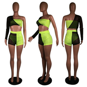 Sexy Club Outfits Women 3 Piece Set Summer Festival Clothing Mesh One Shoulder Rhinestone Crop Top Shorts Set Neon Matching Sets