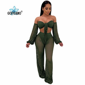 Club Two Piece Set Women Clothes Fishnet Corp Top Pants 2Pcs Matching Sets See Through Summer Beach Outfits