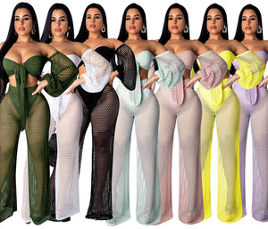 Sexy Fishnet Mesh Two Piece Sets 2020 Beach Party Hollow Out Crop Top Pant Suit Women Summer Matching Sets Outfits