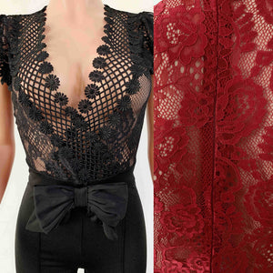 Lace Jumpsuit Women Long Sleeve High Waist See Through Full Bodysuit Long Romper Pants Skinny Evening Jumpsuits