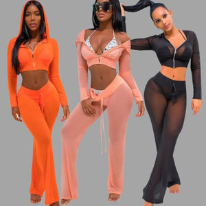 Sexy Ladies Women See-through Long Sleeve Hooded Tops Sweatshirt Pants Set Sexy Suit Clothes 2Pcs