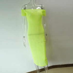 Mesh Sheer Women Dress Neon Green Strapless Short Sleeve Long Midi Dresses Off Shoulder Cover Up Beach Holiday Outfits