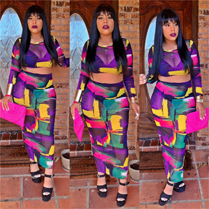 Sexy Mesh Two Piece Set Women Tie Dye Print Crop Top Long Skirt Set Summer Party Club Bodycon 2 Piece Matching Set Outfit