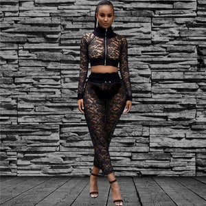 Sexy Nightclub Black Lace 2 Piece Set Women Sheer Mesh Lace Short Jacket Top Pants Suits Clubwear Party Two Piece Outfits