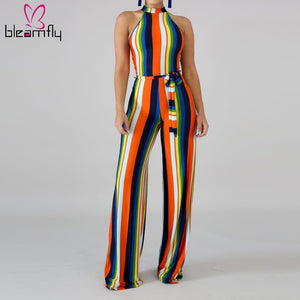 Off Shoulder Wide Leg Jumpsuit Women Vintage Romper Striped Printed Long Off Shoulder Playsuit One Piece Overalls