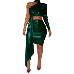 Sexy Party Two Piece Set Women Skirt Sets Clothes Glitter One Shoulder Crop Top Skirt Festival Club Bodycon 2 Piece Set Outfits