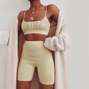 Sexy Ruched Women Two Piece Set Summer Bodysuit Tank Tops High Waist Short Jumpsuit Skinny Fitness Sets