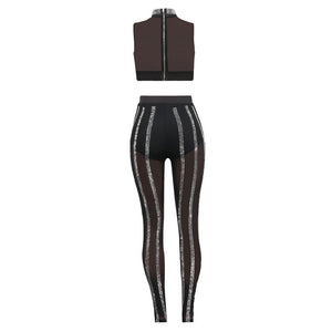 Sexy Sheer Mesh Two Piece Set Women See Through Diamonds Crop Top + Black Pants Suits Clubwear Party Women Set Two Piece Outfits