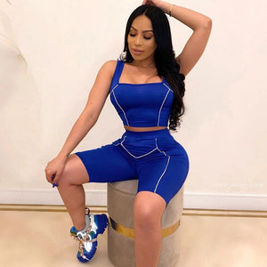 Sexy Short Two Piece Set Crop Top Biker Shorts Tracksuit Reflective Casual 2 Piece Club Outfits Summer Clothes Set
