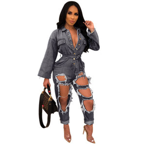 SingleBreasted OpenChest Style Clothes Fashion Loose LongSleeved Washed Hole Tooling Denim Jumpsuit Xm6102 Summer