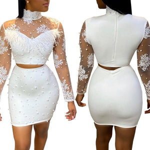 Sexy Summer 2 Piece Set Women Skirt Top Set Korean White Bodycon Lace Sheer Mesh Two Piece Set Matching Sets Club Outfits
