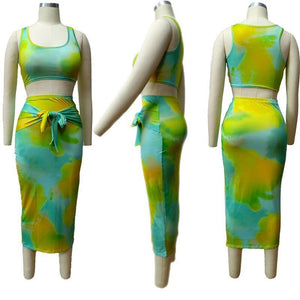 Tie Dyed Print Tracksuit Women Sleeveless Short Tank Top Slim Midi Bodycon Skirt Suit 2Pcs Set Dress Outfits Two Piece Set