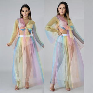 Sexy Two Piece Dress Women Bow Tie Sheer Mesh 2 Piece Crop Top Skirt Set Suit Party Club Two Piece Set Summer Beach Outfit