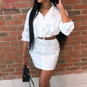 Two Piece Matching Set Spring Summer Clothes Long Sleeve Collar Crop Top Mini Skirts Set White Sportwear