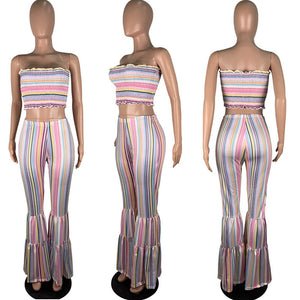 Sexy Two Piece Set Top Pants Summer Women Loose Wide Leg Flare Pants Matching Set Party Club Striped 2 Piece Set Outfits