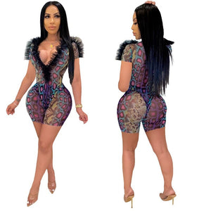 Sexy Two Piece Set Women Clothes Print 2 Piece Set Women Summer Mesh Bodysuit Top Shorts Night Club Outfits Matching Sets