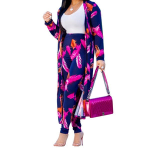 Two Piece Set Women Summer Long Sleeve Cardigan Coat+Wide Leg Pants Flower Printed 2 Piece Outfits Matching Sets