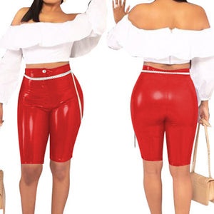Women Sports Shorts Skinny Stretchy Pu Leather High Waist Solid Color Fitness Sporting Push Up Short Pant