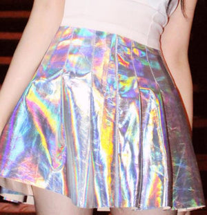 Iridescent Silver Holographic Crop Top Women Laser Hologram Halter Shiny Backless Camis Top High Waist Pencil Skirt Suit