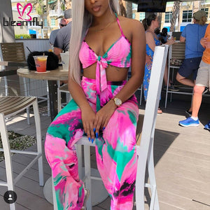 Two Piece Set Summer Outfits Tracksuit Strap Top Wide Leg Pants Halter Pink Print Beach Clothing