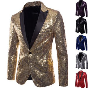 Shiny Sequin Men'S Night Club Suit Male Gold Trend Performances Formal One Button Jacket Men Stage Wedding Tuxedos Blazer