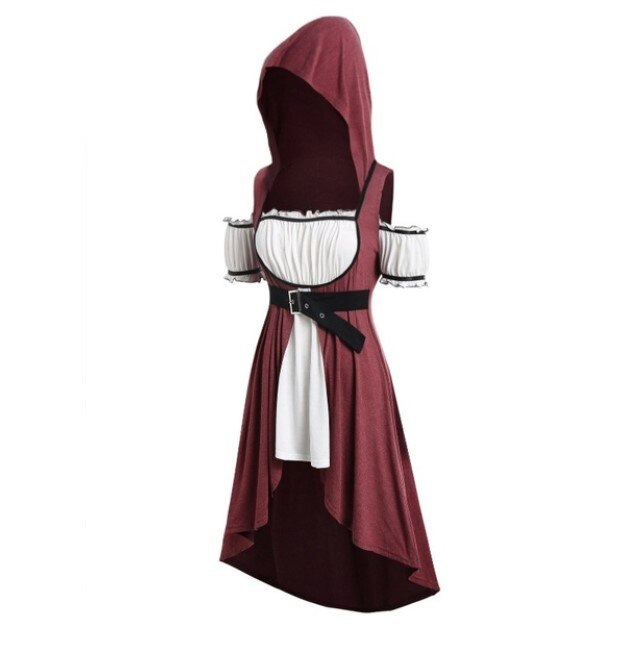 Short Sleeve Mini Skirt Medieval Dress Tunic Renaissance Vintage Belt Princess Dress Maxi Dress Women Cosplay Costume Hoodies