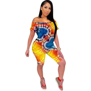 Short Tracksuit Women 2 Piece Set Summer Club Outfits Print Casual Two Piece Set Top Biker Shorts Matching Sets