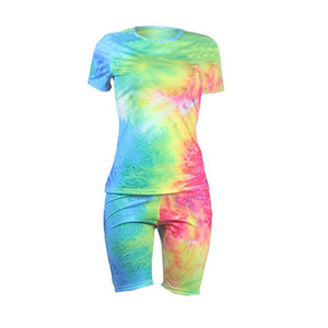 Short Tracksuit Women Sportwear Set Tie Dye 2 Piece Set Women Summer Casual Top Biker Shorts Sport Two Piece Matching Sets