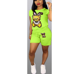 Shorts Set Sequin Cartoon Two Piece Teacksuit Women Casual Tracksuit Summer Fashion Tops Short Pants Women Plus Size Outfit