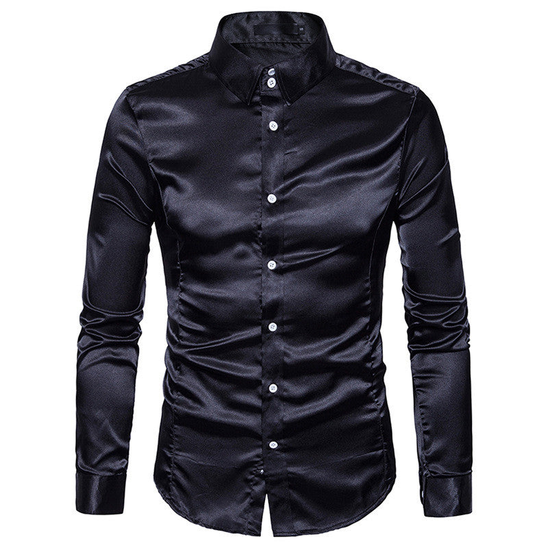 Silk Satin Shirt Men White Men Shirt Long Sleeve Slim Fit Male Shirt Emulation Silk Casual Button Down Mens Dress Shirts