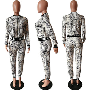 Snake Print Casual Two Piece Sets Women Clothing Long Sleeve Crop Top Jacket Pants Tracksuit Women Two Piece Outfits 2020