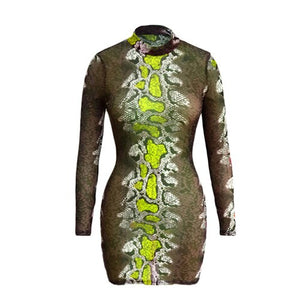 Snake Print Mini Pencil Dress Long Sleeve Mesh Dresses Summer Clothing Club See Through Basic Vestidos