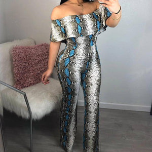 Snake Skin Print Romper Off Shoulder Jumpsuit Women Boho Beach Party One Piece Long Playsuit Straight Wide Leg Overalls