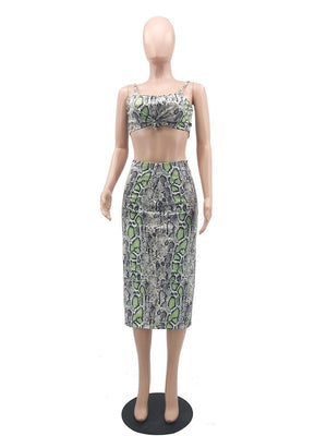 Snakeskin Two Piece Skirt Set Women 2 Piece Set Casual Party Crop Top Midi Skirts Bandage Summer Sets Women