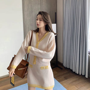 Soft Knitted Skirt Suits 2 Two Piece Set Women Autumn Tops Skirt Suit Plus Size Outfits Office Lady Suit Single-breasted