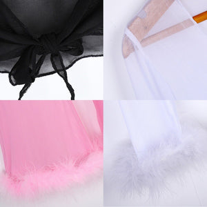 Solid Pink Feather Chiffon 2 Piece Set Long Sleeve Crop Top Flare Pants Women Club Outfits Suit Spring Summer