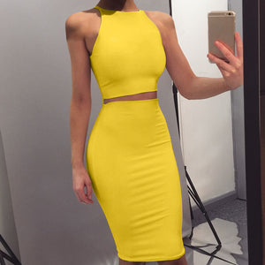 Solid Sexy Summer Two Piece Suits Casual Crop Tops Skinny Mini Skirts Sets Sleeveless Tops Pencil Skirts Two Piece Sets 2020