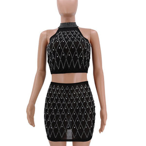 Sparkly Rhinestone Sexy 2 Piece Set Women Sheer Mesh Top Skirt Set Night Club Party Two Piece Dresses Matching Sets Outfits